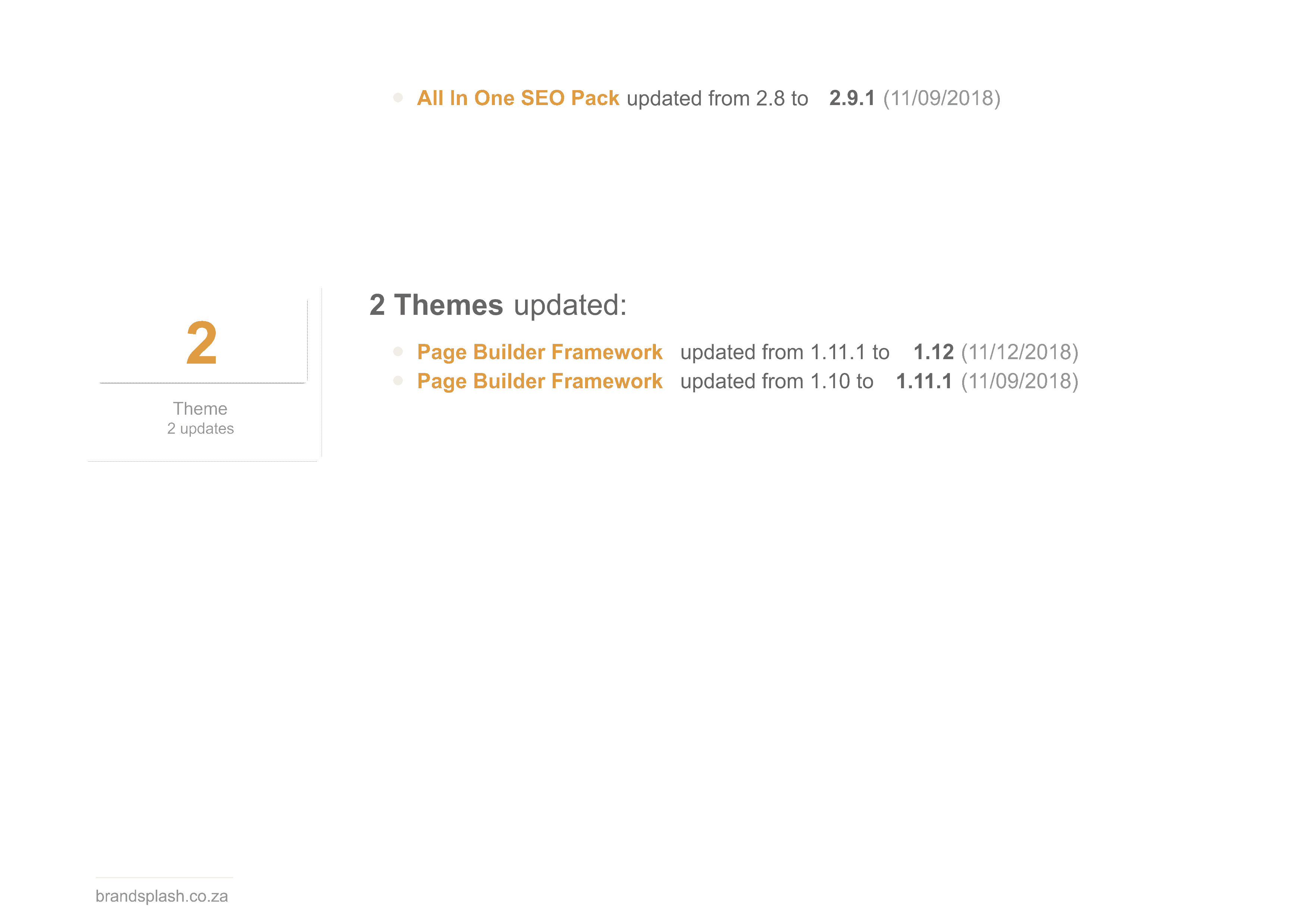 Website maintenance updates